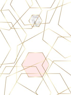 Fototapeta Gold glitter and marble hexagons template with geometric shapes