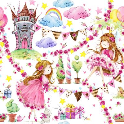 Fototapeta Watercolor seamless pattern with cute princess unicorn castle and Fairy tale background