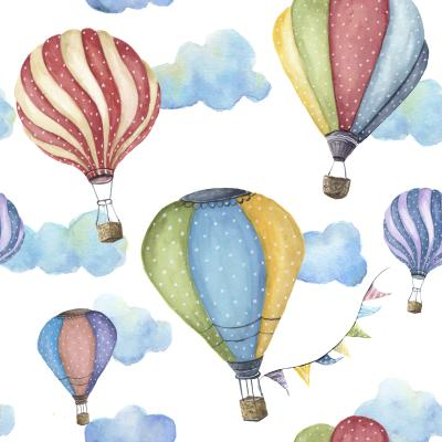 Watercolor pattern with cartoon hot air balloon