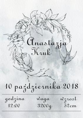 Plakat Metryczka dziecięca jaskółki
