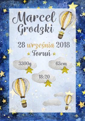 Plakat Metryczka gwiazdki i balony