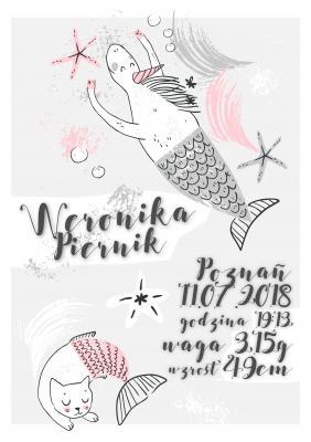 Plakat Dziewczęca metryczka syrenki
