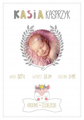Plakat Dziewczęca metryczka ze zdjęciem