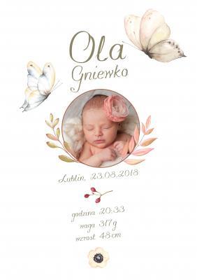 Plakat Metryczka dla dziewczynki motyle