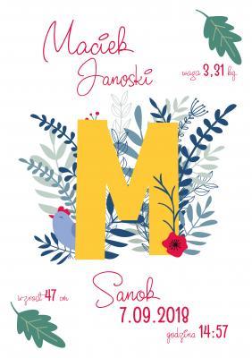 Plakat Metryczka pierwsza litera imienia