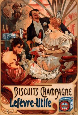 Obraz Alfons Mucha - Biscuits Champagne Lefèvre Utile