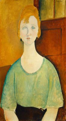 Obraz Amedeo Modigliani - Dziewczyna w zielonej bluzce