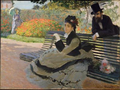 Obraz Claude Monet - Camilla Monet na ławce w ogrodzie