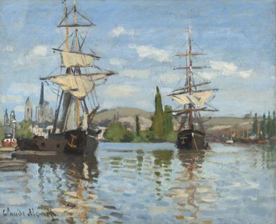 Obraz Claude Monet - Statki płynące po Sekwanie w Rouen
