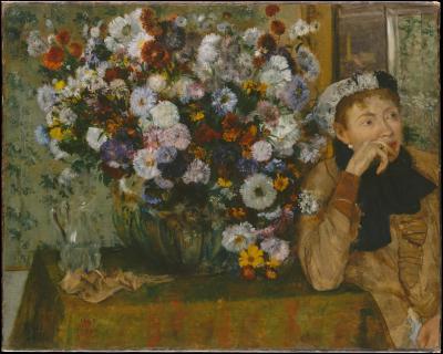 Obraz Edgar Degas - Kobieta siedząca przy wazonie