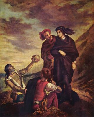 Obraz Eugène Delacroix - Fryderyk Chopin Delacroix - Hamlet i Horacy na cmentarzu