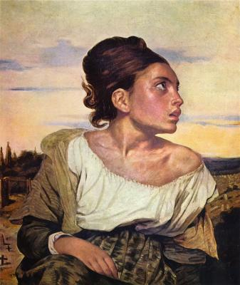 Obraz Eugène Delacroix - Sierota na cmentarzu