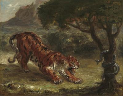 Obraz Eugène Delacroix - Tygrys i wąż