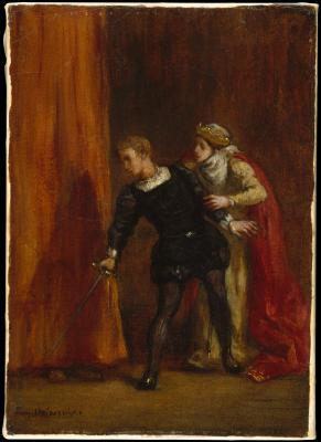 Obraz Eugène Delacroix- Hamlet z matką