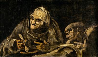 Obraz Francisco Goya - Dwie staruchy jedzące zupę