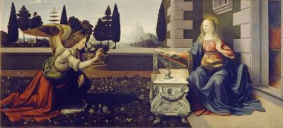 Obraz Leonardo da Vinci - Zwiastowanie