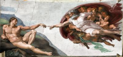 Obraz Michał Anioł - Stworzenie Adama. Fresk
