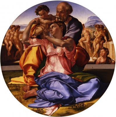 Obraz Michał Anioł - Święta Rodzina z małym św. Janem