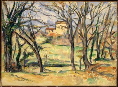 Obraz Paul Cezanne - Drzewa i domy w pobliżu Jas de Bouffan