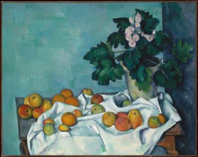 Obraz Paul Cezanne - Martwa natura z jabłkami i bukietem pierwiosnków