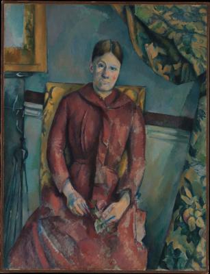 Obraz Paul Cezanne - Portret pani Cézanne w czerwonej sukni