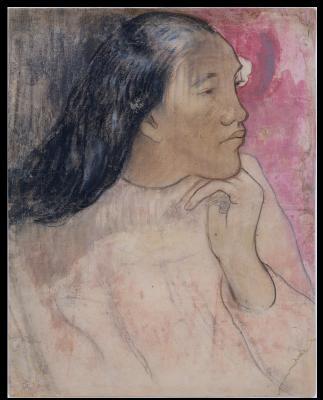 Paul gauguin - tahitanka z kwiatem we włosach