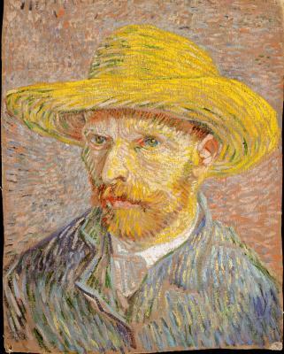 Obraz Vincent van Gogh - Autoportret w słomkowym kapeluszu