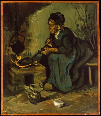 Obraz Vincent van Gogh - Chłopka gotująca na kominku