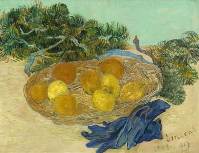 Vincent van gogh - martwa natura z pomarańczami, cytrynami i niebieskimi rękawicami
