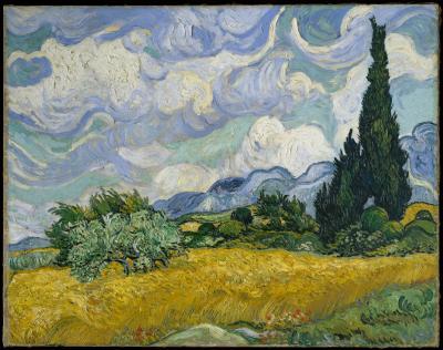 Vincent van gogh - pole pszenicy z cyprysami