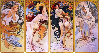 Obraz Alfons Mucha - Cztery Pory Roku