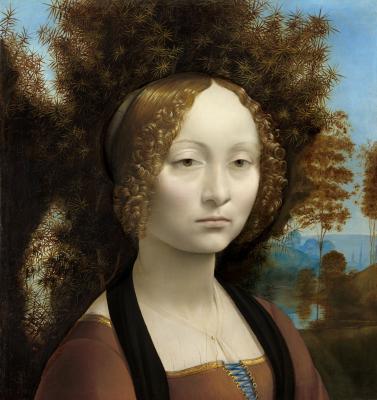 Obraz Leonardo da Vinci - Portret Ginevry Benci