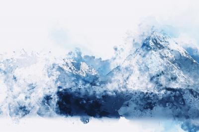 Abstract mountains in blue tone digital watercolor painting