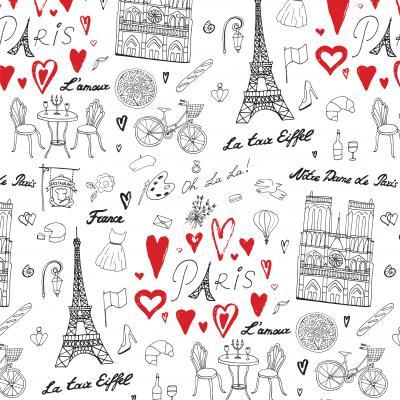 Fototapeta Travel Paris vector line pattern
