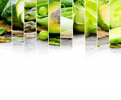 Fototapeta Photo of abstract green vegetable mix with white space for text