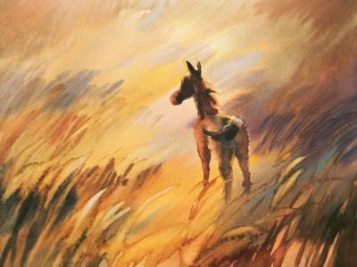 Obraz Horse and cute foal watercolor handmade illustration