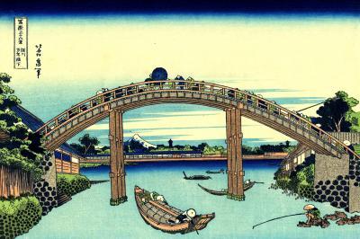Hokusai - fuji widziane z mostu mannen