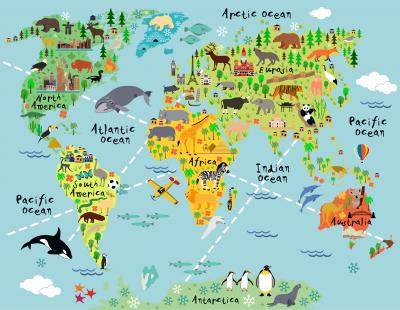 Cartoon world map with landscape and animal