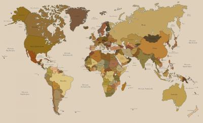 Fototapeta Mapa świata beżowa