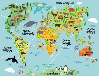 Fototapeta Mapa ze zwierzętami po polsku