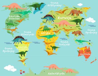 Naklejka Mapa po polsku z dinozaurami