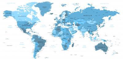 Naklejka Mapa po polsku w kolorze błękitnym