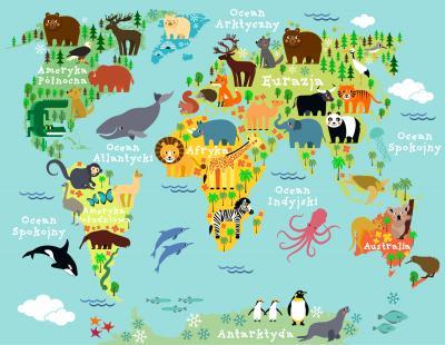 Naklejka Mapa zwierzęta świata po polsku