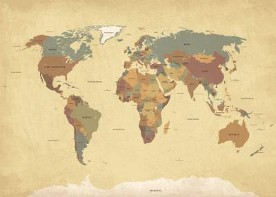 Fototapeta Postarzana mapa świata po polsku