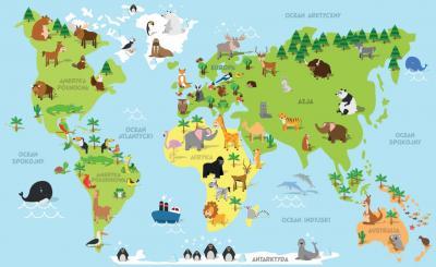 Fototapeta Mapa zwierzęta rysunkowe po polsku