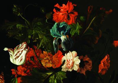 Bukiet kwiatów na ciemnym tle