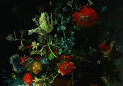 Fototapeta Kompozycja kwiatów na ciemnym tle