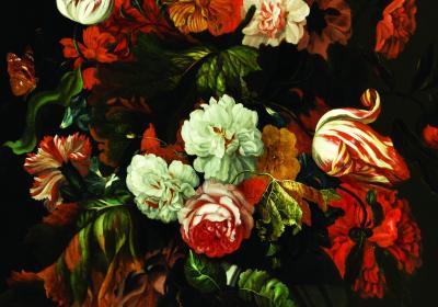 Fototapeta Obfite kwiaty w czerwieni i bieli