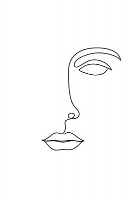 Plakat Rysunek kobiecej twarzy