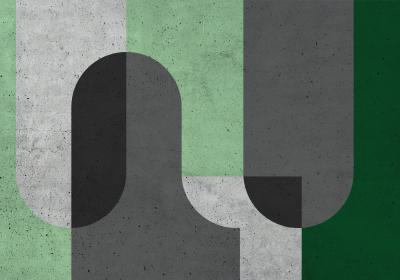 Fototapeta Bloki geometryczne w odcieniach zieleni i szarości z efektem betonowej tekstury.jpg